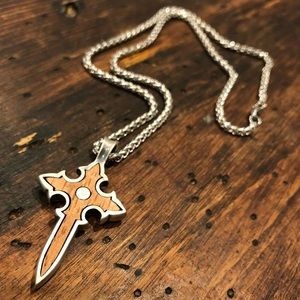 Rosewood Cross Pendant with Silver Rope Necklace